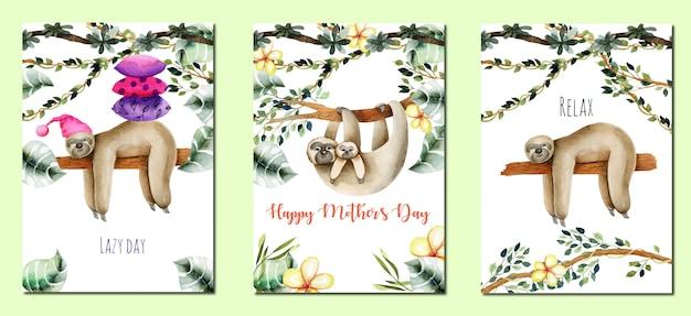 Coleção de cartões com aquarela lindas preguiças