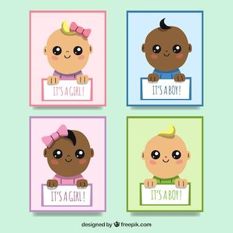 Coleção de cartões com bebês fofos
