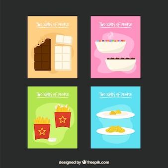 Coleção de cartões com comida deliciosa