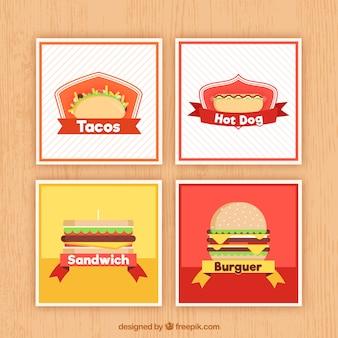 Coleção de cartões com comida diferente