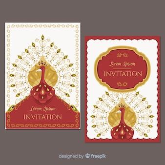 Coleção de cartões com desenhos de pavão criativos