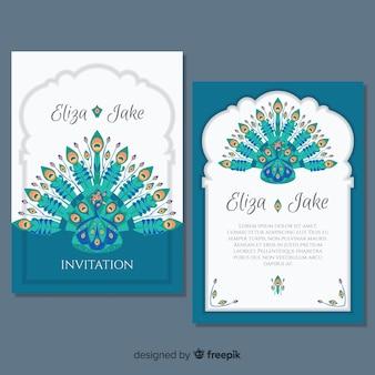 Coleção de cartões com desenhos de pavão elegante