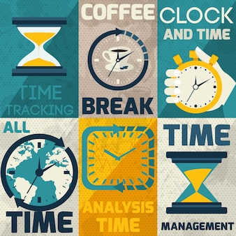 Coleção de cartões com diferentes tipos de relógios