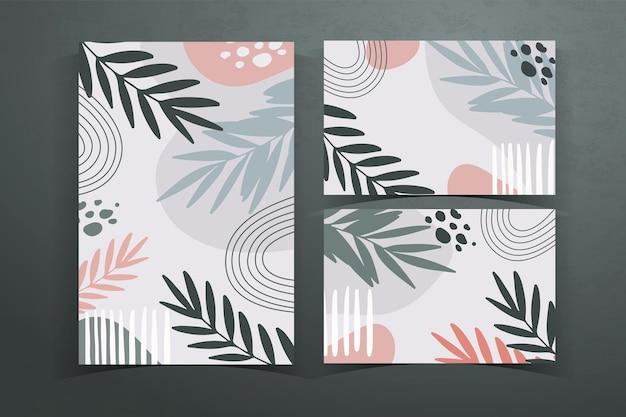 Coleção de cartões com formas botânicas abstratas e folhas, cores pastell.