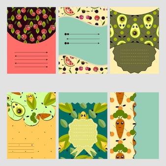 Coleção de cartões com padrões vegetais
