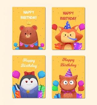 Coleção de cartões com personagens fofinhos de animais