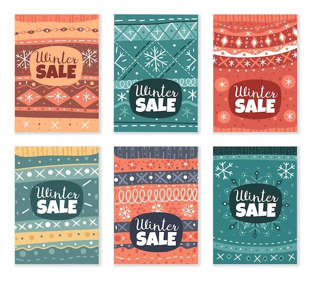 Coleção de cartões com texturas de suéteres feios de natal