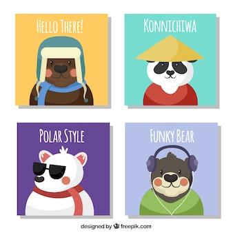 Coleção de cartões com ursos lisos
