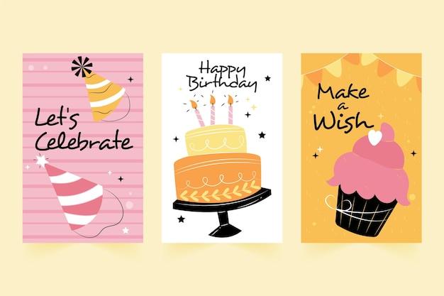 Coleção de cartões comemorativos de aniversário desenhados à mão