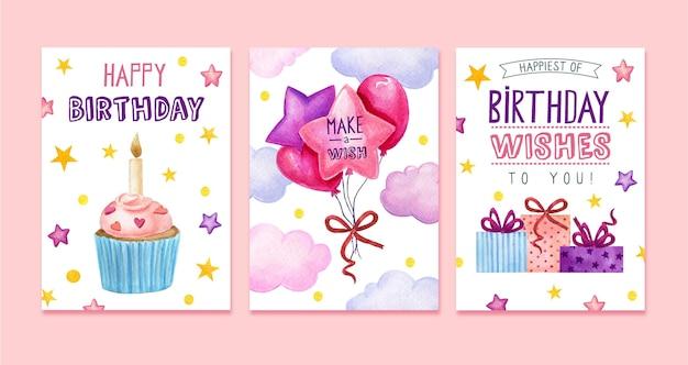 Coleção de cartões comemorativos de aniversário em aquarela