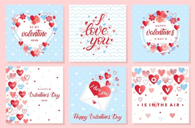 Coleção de cartões criativos de dia dos namorados.