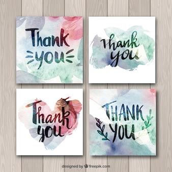 Coleção de cartões de agradecimento de aquarela