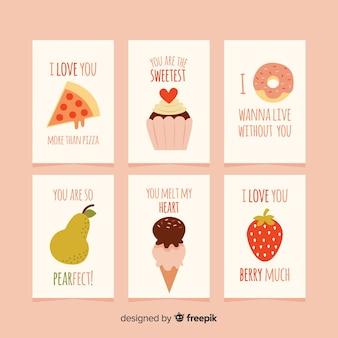 Coleção de cartões de amor comida plana
