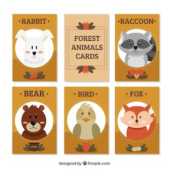 Coleção de cartões de animais bonitos da floresta no estilo do vintage