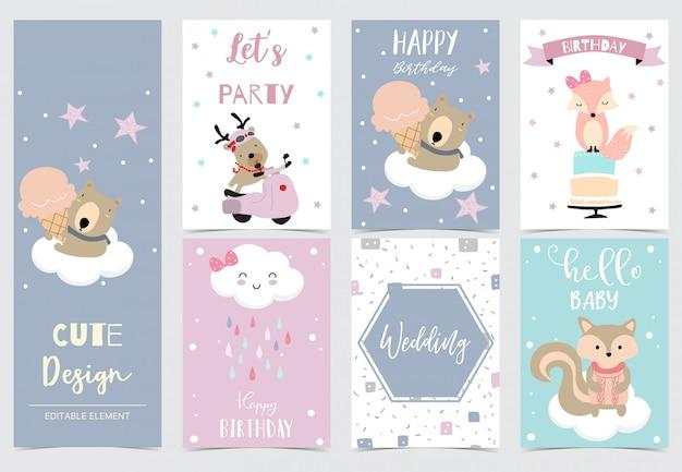 Coleção de cartões de animais conjunto com renas, urso, raposa, esquilo.