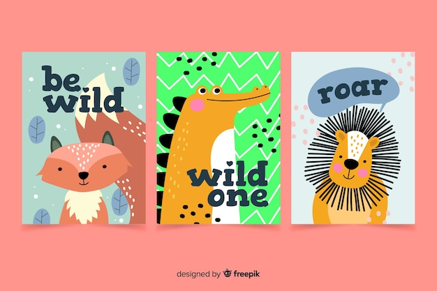 Coleção de cartões de animais desenhados à mão