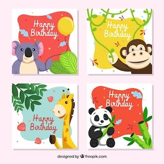 Coleção de cartões de aniversário com animais sorrisos