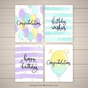 Coleção de cartões de aniversário com balões