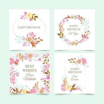 Coleção de cartões de aniversário com conjunto de flores