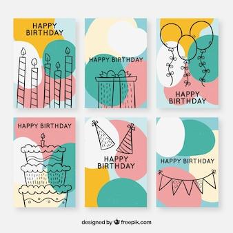 Coleção de cartões de aniversário com elementos de festa