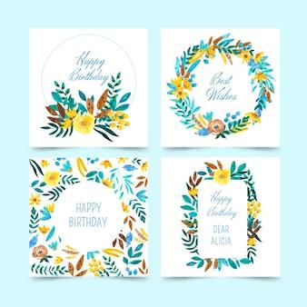 Coleção de cartões de aniversário com flores