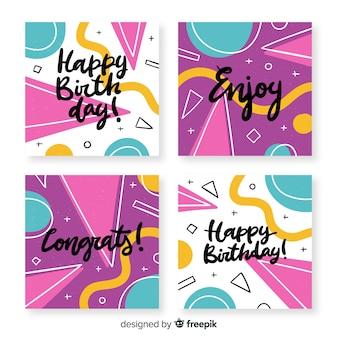 Coleção de cartões de aniversário com formas abstratas