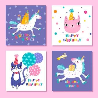 Coleção de cartões de aniversário de animais fofos
