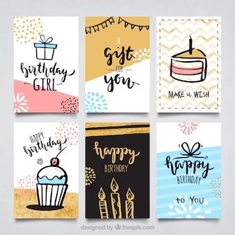 Coleção de cartões de aniversário de cor de água