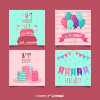 Coleção de cartões de aniversário de mão desenhada
