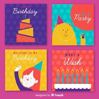 Coleção de cartões de aniversário de personagens a acenar