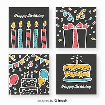 Coleção de cartões de aniversário de quadro-negro