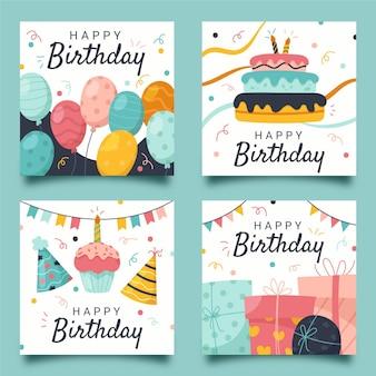 Coleção de cartões de aniversário desenhada à mão