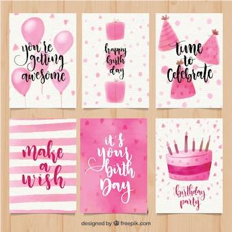 Coleção de cartões de aniversário em aguarela rosa