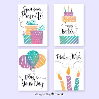 Coleção de cartões de aniversário em aquarela