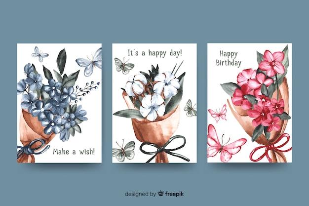 Coleção de cartões de aniversário em estilo aquarela
