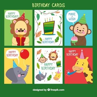 Coleção de cartões de aniversário em estilo desenhado a mão