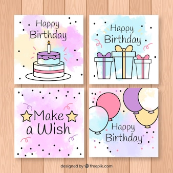 Coleção de cartões de aniversário em estilo plano