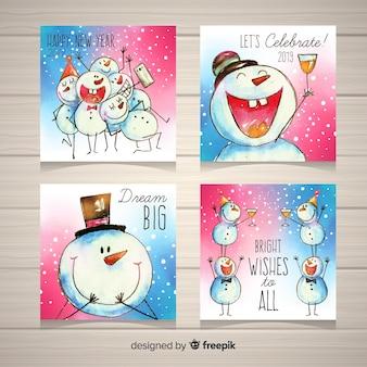 Coleção de cartões de ano novo 2019