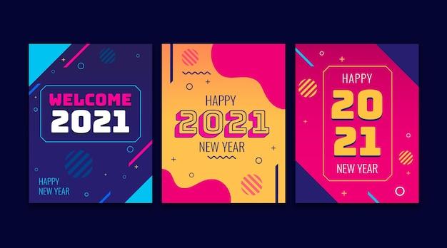Coleção de cartões de ano novo 2021 de design plano