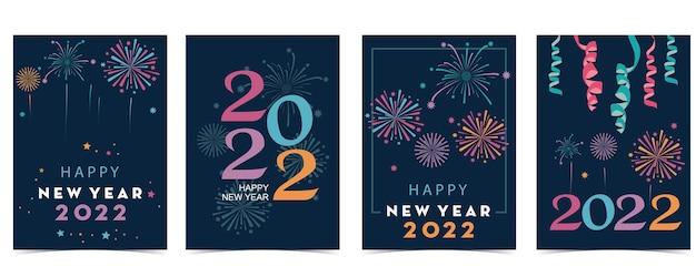 Coleção de cartões de ano novo com fogos de artifício, moldura, estrela. ilustração vetorial para cartaz, cartão postal, banner, capa