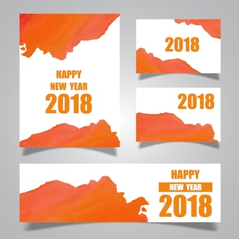 Coleção de cartões de ano novo de watercolor splatters