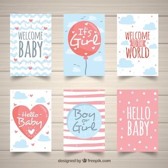 Coleção de cartões de bebê bonito em estilo desenhado à mão