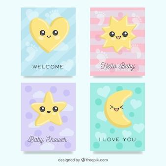 Coleção de cartões de bebê com desenhos bonitos