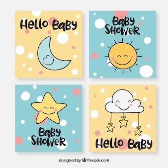 Coleção de cartões de bebê com elementos fofos