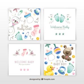 Coleção de cartões de bebê em estilo aquarela
