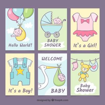 Coleção de cartões de bebê em estilo desenhado a mão