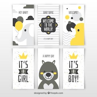 Coleção de cartões de bebê em estilo plano
