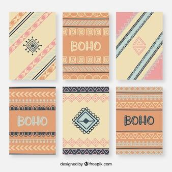 Coleção de cartões de boho na mão desenhada estilo