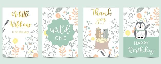 Coleção de cartões de boho rosa com urso, pinguim. ilustração vetorial para convite de aniversário, cartão postal e adesivo. elemento editável