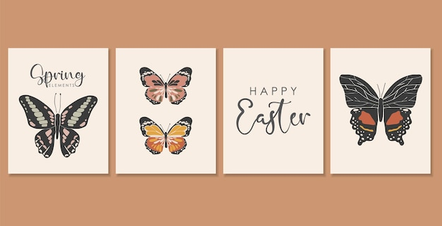 Coleção de cartões de borboletas coloridas boho